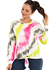 AS ROSE RICH Women's Colorblock Sweatshirt Tie Front Pullover T-Shirts Long Sleeve Tunic Tops S-XL