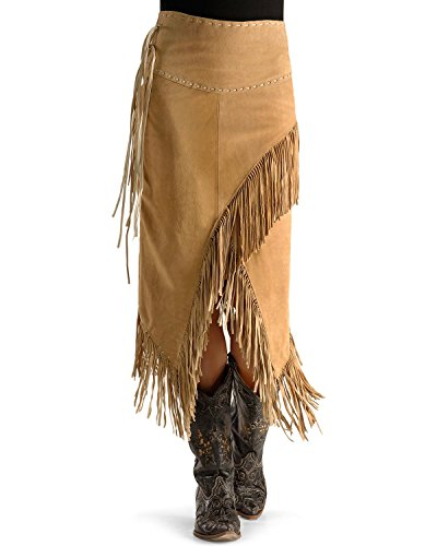 (Scully Women's Suede Leather Fringe Skirt Tan Medium)