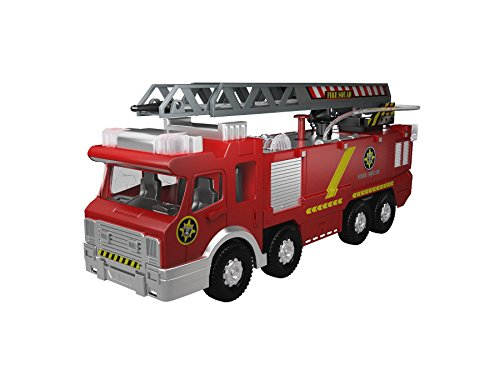 MOTA Firetruck Engine with Adjustable Ladder, Water Pump, Lights and Sounds - Large
