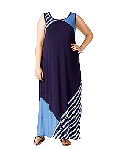 Colorblocked Maxi Dress (Style & Co. Plus Size Colorblocked Sleeveless Maxi Dress (2x, Shibori Stripe))
