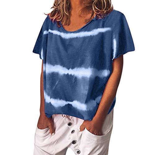 Women Tops Plus Size Print Blouse Short Sleeved O-Neck T-Shirt Blouse Tops Blue ()