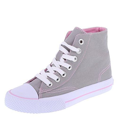 Airwalk Grey Pink Kids' Legacee Sneaker High-Top 6 Regular (Pink Sneaker Canvas)