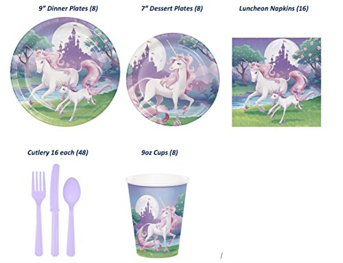 Unicorn Fantasy Complete Party Supply Bundle (Serves 8): 8 Dinner AND 8 Dessert Plates, 16 Napkins, 8 Cups, Cutlery (16 of each knives, forks & spoons) 88 pcs total