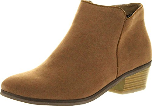 Reneeze Womens Beauty-03 Sneaker Petty Stacked Heel Side Zipper Ankle Booties,Camel,8