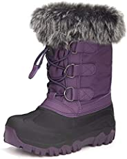 Outee Toddler Kids Winter Waterproof Snow Boots with Fur Lined