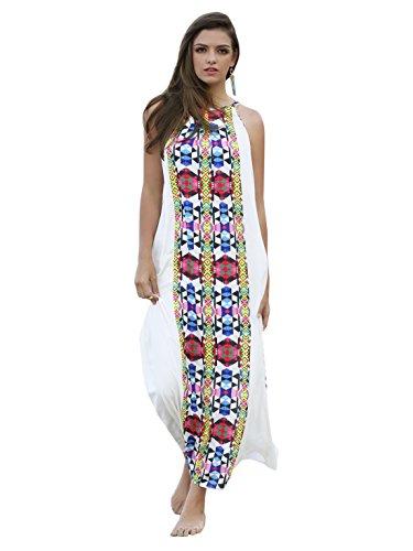 ROMWE Women's Placement Print Halter Neck Maxi Dress White S