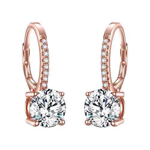 - EVER FAITH 925 Sterling Silver Round Cut CZ Prong Setting Bridal Dangle Earrings Clear Rose Gold-Tone