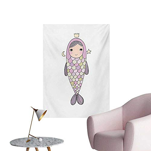 Anzhutwelve Mermaid Mural Decoration Fantasy Sea Life Mythological Character Girl in Fish Costume with Crown Moon StarsMulticolor W24 xL36 Custom Poster ()