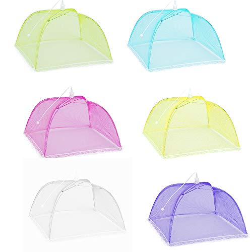 (Weite Large Pop-Up Mesh Food Cover Tent Umbrella, Reusable Outdoor Picnic Food Cover, 6pcs Collapsible Food Covers Net Keep Out Flies, Bugs, Mosquitoes (B))