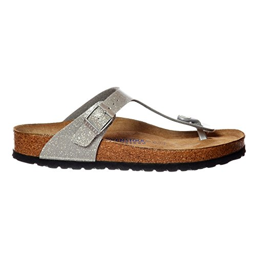 Birkenstock Womens Gizeh Magic Galaxy Beach Glitter Open Toe Sandals - Silver - 6