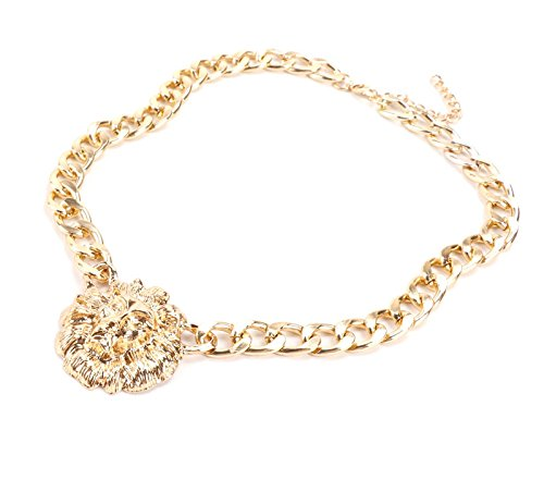 Gold/Silver Plated Lion Head Chain Statement Necklace Bracelet Earring Ring Jewelry Set (Gold) by WANG (Image #4)
