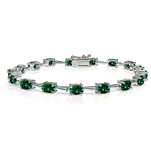 - Sterling Silver Simulated Emerald 6x4mm Oval Classic Link Tennis Bracelet