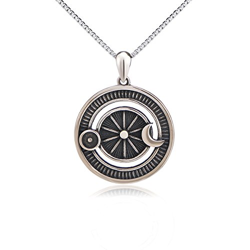 Sterling Silver Jewelry Oxidized Vintage Sun and Moon Pendant Necklace, 18 Inches Box Chain (Goddess Jewelry Pendant)