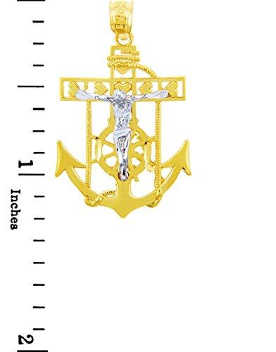 10 ct 471/1000 Deux-Tons Or Mariners Ancre Croix Religieux Crucifix Pendentif