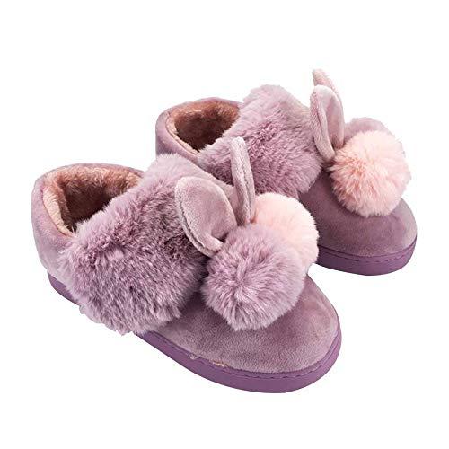 Avec Femmes Pour D'hiver D'automne Purple En Li L'intérieur Bottes Et Épais Coton Fond Chaussures Miss Chaud Pantoufles Sac De Adorable wI06XxRnq