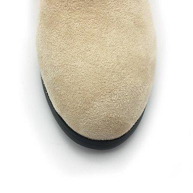 2in Flower Boots amp;xuezi Dress Beige Black Casual Boots beige amp; Evening Fashion Chunky Winter Fall Zipper 2 Fleece 3 4in Women's Party Gll Heel HxA6dwII