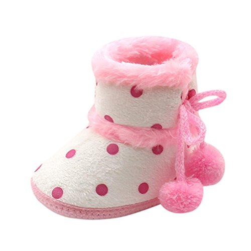 Fheaven Baby Girls Boys Soft Dot Booties Warm Snow Boots Infant Toddler Newborn Warming Pompom Bandage Shoes (0~3 Month, pink) ()