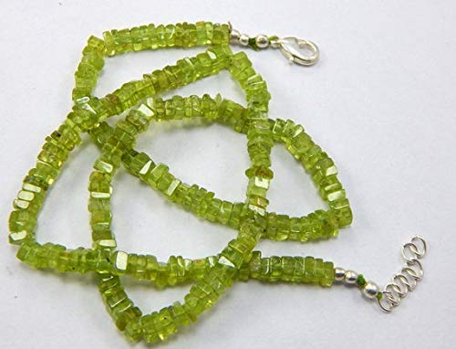 Spacers Necklace Beaded - 1 Strands Natural Green Peridot Heishi Spacer Beads Size 4 mm 18.5 inch Necklace by Gemswholesale
