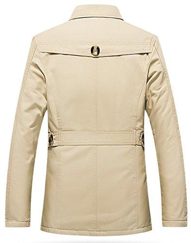 Sawadikaa Men's Single-Breasted Cotton Lightweight Jacket Windbreaker Wind Trench Coat Outdoor Jacket Light Khaki Medium by Sawadikaa (Image #3)