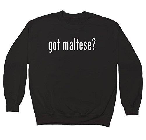 got maltese? Men's Crewneck Fleece Sweatshirt, Black, Medium (Got Maltese)