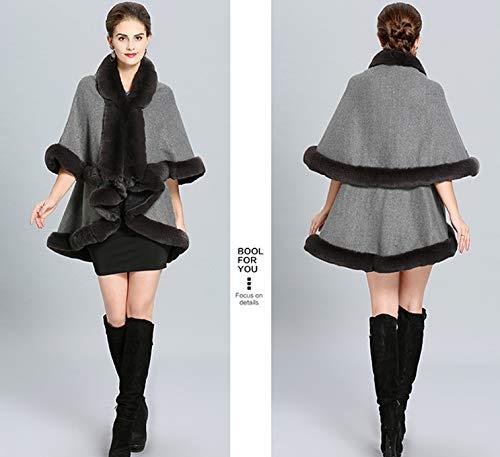 Otoño Cape Mantón Faux Cabo Capa Invierno Folobe Hecho De Mujeres Gray Cabello Punto Fur Y tvwRWHqY