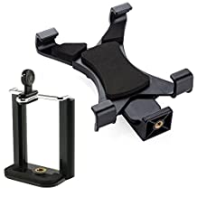 Tablet&Phone Mount, Peyou 2-in-1 Universal Tablet iPad Tripod Mount Adapter + Cell Phone Mount Adapter Holder Clamp, For iPad Pro 9.7'', iPad 2 3 4, iPad Air 1 2, iPad Mini 1, 2, 3, 4, Samsung Galaxy Tab A 7.0''/8.0''/9.7'' Tab S2 8.0''/9.7'' Tab E 9.6'', iPhone 6S, 6S plus, 6, 6 plus, SE, 5, 5S, 5C, 4, 4s, Samsung Galaxy S7, S7 Edge, S6, S6 Edge, S5, S4, S3, S2, Note 2, Other Tablets, Phablets or