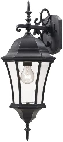 Z-Lite 522M-BK Wakefield Outdoor Wall Light, Aluminum Frame, Black Finish and Clear Beveled Shade of Glass Material
