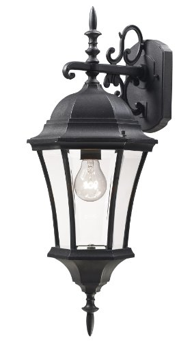 Z-Lite 522M-BK Wakefield Outdoor Wall Light, Aluminum Frame, Black Finish and Clear Beveled Shade of Glass Material 522 Fixture