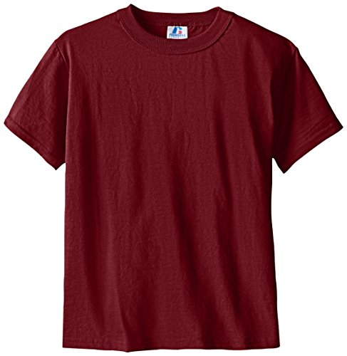 Russell Athletic Boys' Big Basic Cotton Blend T-Shirt, Maroon, Medium