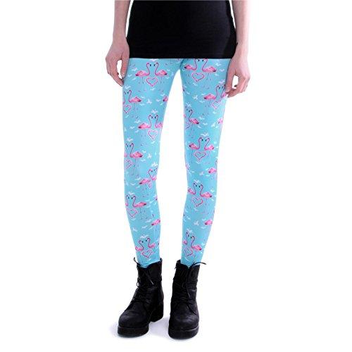 cosey - Bedruckte Bunte Leggins (Einheitsgröße) Verschiedene Leggings Designs, Flamingo Herzen, Einheitsgröße