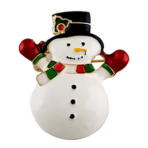 - SELOVO Gold Tone White Enamel Cute Snowman Brooch Pin for Women Girls