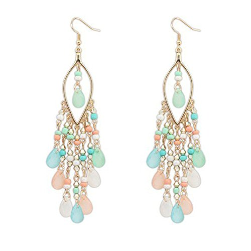 Orcbee  _1Pair Women Hot Charm Bohemian Colorful Beads Ear Drops Dangle Tassels Earrings (Multicolor) from 💗 Orcbee 💗 _Jewelry & Watches