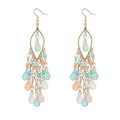 Onefa 1Pair Women Charm Bohemian Colorful Beads Ear Drops Dangle Tassels Earrings