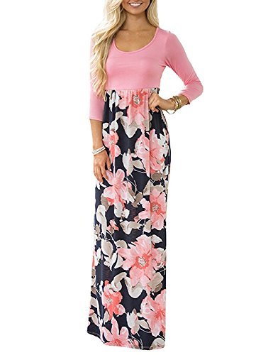 Demetory Women`s Boho Summer 3/4 Sleeve Empire Waist Floral Flowy Long Maxi Dress 1470 Pink Large 3/4 Sleeve Empire Waist Top