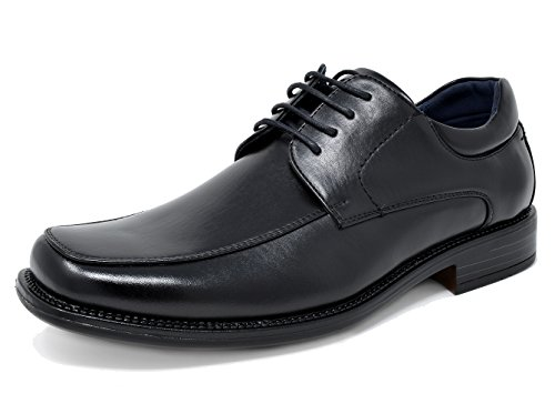 Bruno MARC GOLDMAN-01 Men's Classic Square Moc Toe Leather Lining Lace Up Dress Oxford Shoes BLACK SIZE 13