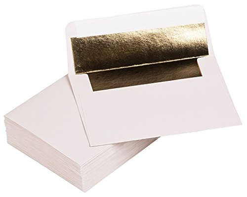 A1 Bronze Foil Lined Envelopes - 50-Pack Square Flap Invitation Envelopes for Invitation Announcements, for Wedding RSVP, Graduation, Birthday, 120gsm Paper, 3 5/8 x 5 1/8 inches, White ()