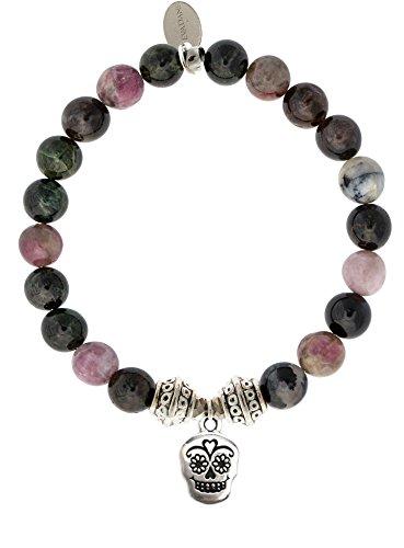 Price comparison product image EvaDane Natural Tourmaline Gemstone Tibetan Bead Sugar Skull Charm Stretch Bracelet - Size 8 Inch ( 1_TOU_S_T_SKU_8)