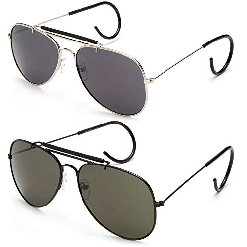 Timeless Classic Aviator Sunglasses with Brow Bar and Cable Wire Wrap Ears Temples For Secure Fit Men Women