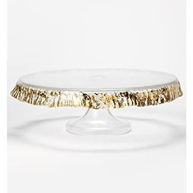 Vietri Ruffle Glass Gold Cake Stand