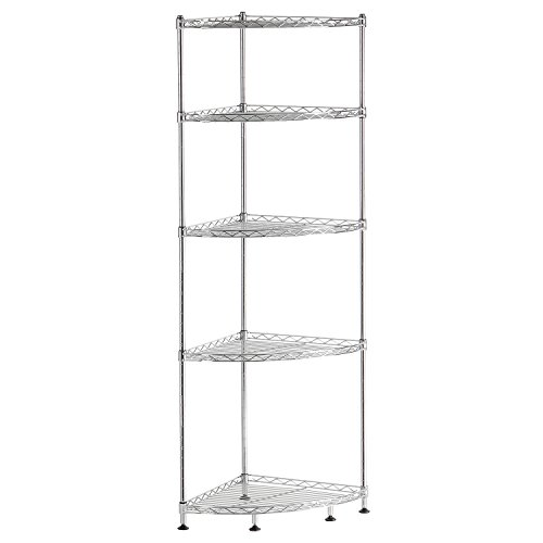 Lifewit 5 Tiers Adjustable Wire Corner Shelving Unit, Metal Storage Shelves Corner Rack for Living Room,Bathroom, Kitchen