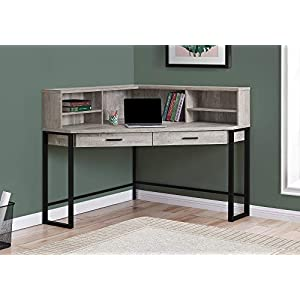 """Monarch Specialties Corner Desk with Hutch & Storage Home Office Laptop PC Study Table-Workstation, 48"""" L, Taupe Reclaimed Wood Look"""