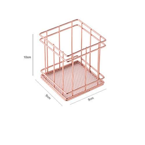 PinShang – Cesta de Almacenamiento de Hierro y Metal, Color Oro Rosa, Soporte de combinación para computadora, Accesorios...
