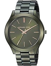Women's 'Slim Runway' Quartz Stainless Steel Casual Watch, Color:Green (Model: MK3731)