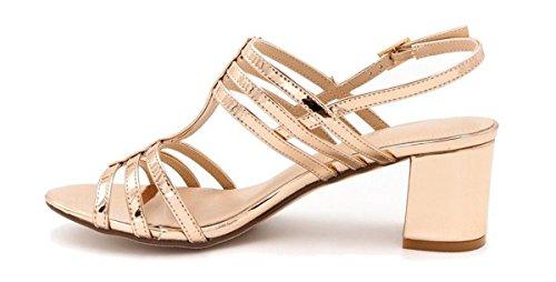 SHU CRAZY Womens Ladies Metallic Sling-Back Mid Block Heel Fashion Summer Sandals Shoes - N42 Rose Gold WmXNPKvPT