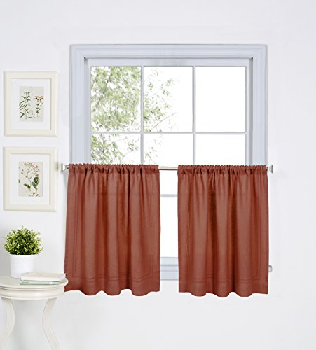 30 Spice (Elrene Home Fashions 026865775402 Solid Hemstitched Rod Pocket Cafe/Kitchen Tier Window Curtain, Set of 2, 30