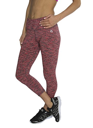 RBX Active Women's Knee Length Printed Space Dye Yoga Crop Capri Leggings Force Rebel Rose Small (Mustache Pantyhose)