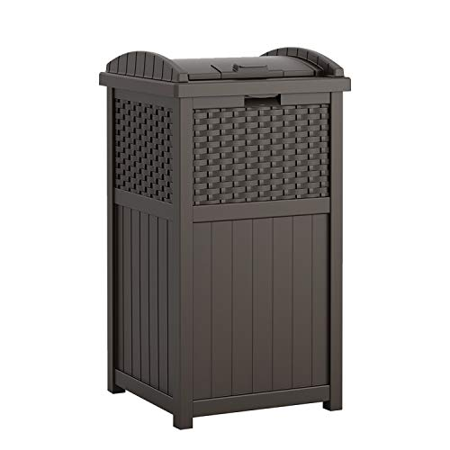 Suncast 33 Gallon Hideaway Can Resin Outdoor Trash with Lid Use in Backyard Deck or Patio Brown