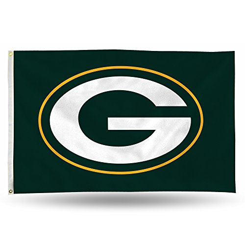 Rico NFL Green Bay Packers 3-Foot by 5-Foot Single Sided Banner Flag with Grommets]()