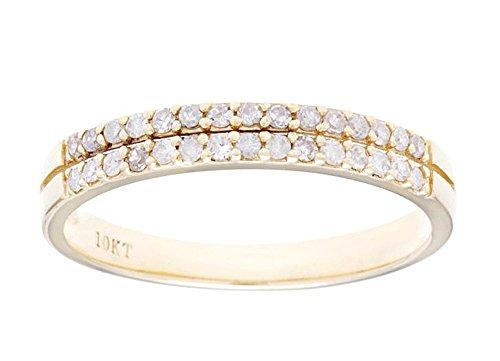 (Instagems 10k Yellow Gold Double-Row Diamond Anniversary Wedding Band Ring (1/4 cttw, I-J Color, I2-I3)