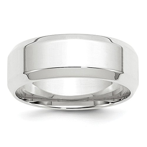14k White Gold 8mm Bevel Edge Comfort Fit Wedding Band Size 10 by Diamond2Deal